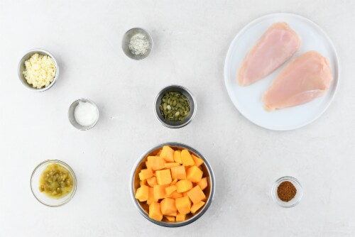 Home Chef Meal Kit Chicken with Hatch Chile Ranch and Pepita Butternut Squash Perspective: back