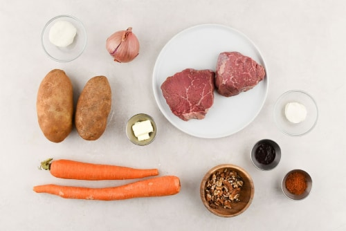 Home Chef Meal Kit Goat Cheese and Walnut Crusted Steak With Shallot Demi Sauce Perspective: back