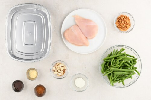 Home Chef Oven Kit Goat Cheese-Crusted Chicken With Green Beans and Almonds Perspective: back