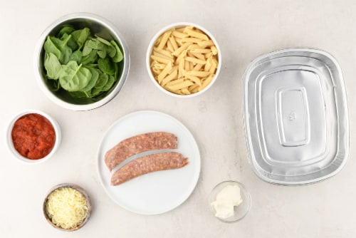 Home Chef Oven Kit Creamy Tomato And Italian Sausage Penne Bake With Spinach Perspective: back