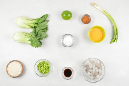 Home Chef Meal Kit Crispy Boom Boom Shrimp Rice Bowl With Edamame and Bok Choy Perspective: back