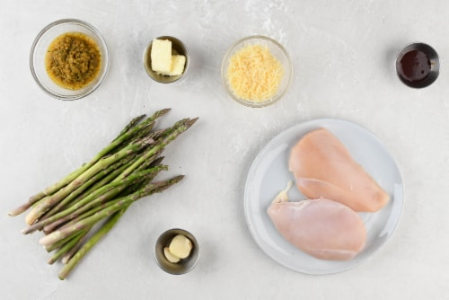 Home Chef Meal Kit Chicken Breast with Garlic Demi-Glace and Parmesan Asparagus Stovetop Cooking Perspective: back