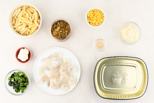 Home Chef Oven Kit Jalapeno Popper Shrimp Alfredo With Corn And Poblano Pepper Perspective: back