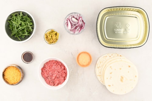 Home Chef Oven Kit Cheeseburger Tacos With Arugula Perspective: back
