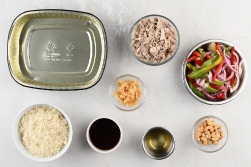 Home Chef Oven Kit Teriyaki Pulled Pork With Jasmine Rice And Cashews Perspective: back