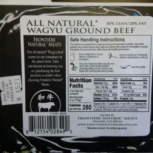 Frontiere Natural Meats Wagyu 80/20 Ground Beef Perspective: back