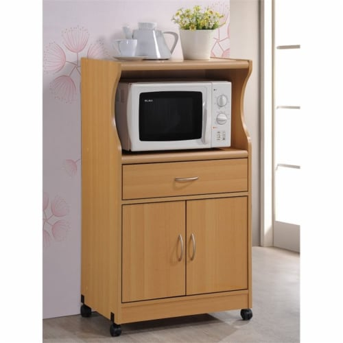 Hodedah Wheeled Microwave Island Cart with Drawer and Cabinet Storage, Beech Perspective: back