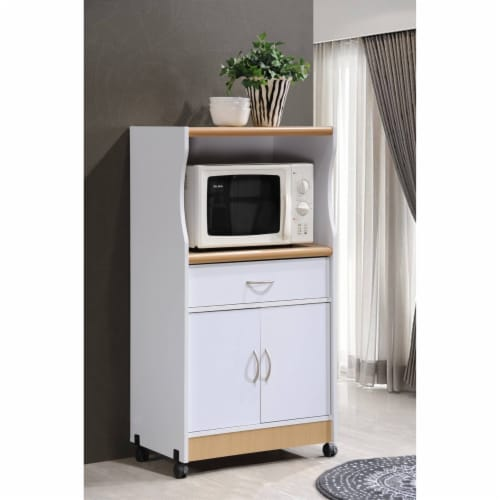 Microwave Kitchen Cart in White - Hodedah Perspective: back
