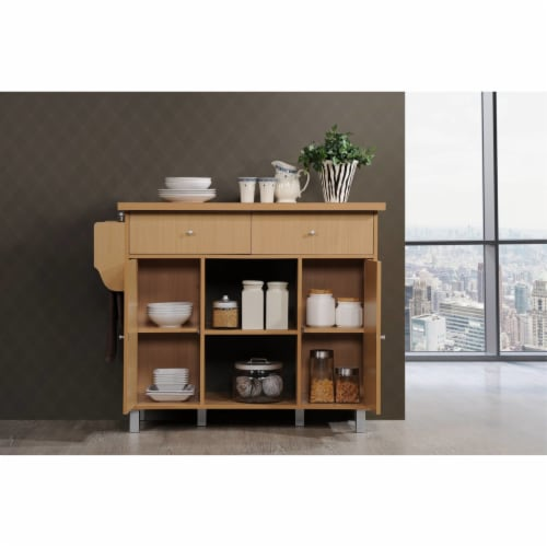Kitchen Island with Spice Rack plus Towel Holder in Beech Brown - Hodedah Perspective: back