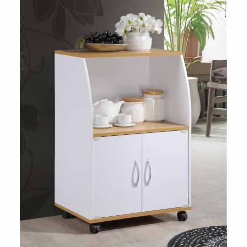 Hodedah Kitchen Cart in White Perspective: back