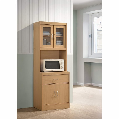 Hodedah Freestanding Kitchen Storage Cabinet w/ Open Space for Microwave, Beech Perspective: back