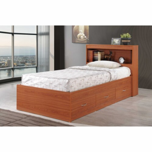 Twin Size Captain Bed with 3 Drawers and Headboard in Cherry - Hodedah Perspective: back
