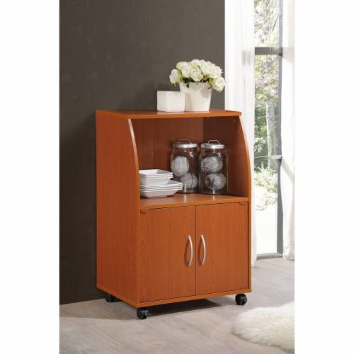 Microwave Kitchen Cart in Cherry - Hodedah Perspective: back