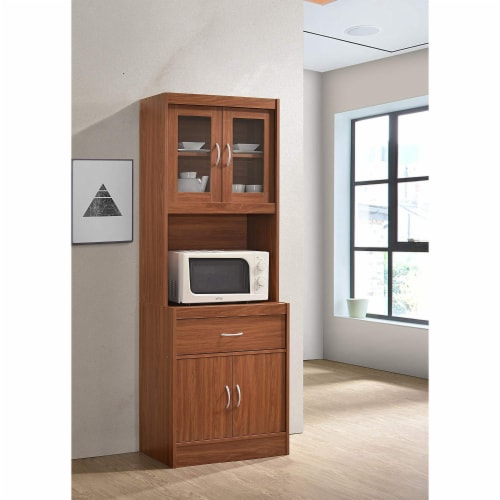 """Hodedah Import 70"""" Tall Top/Bottom Enclosed Kitchen Cabinet with Drawer, Cherry Perspective: back"""