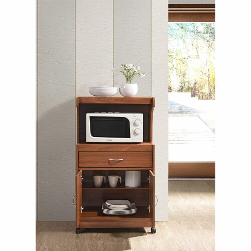 Hodedah Microwave Kitchen Cart in Cherry Perspective: back