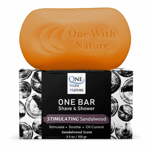One With Nature One Stimulating Sandalwood Scent Shave & Shower Grooming Bar Perspective: back