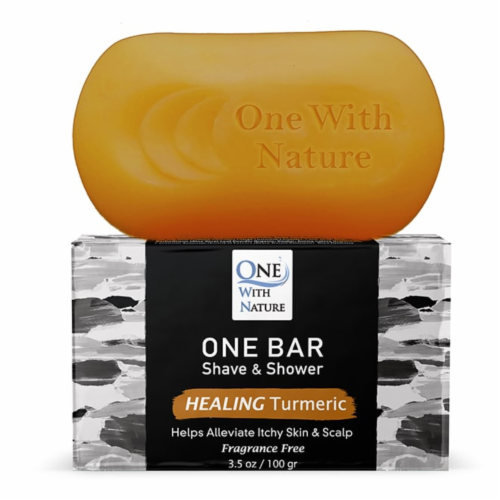 One With Nature One Healing Turmeric Fragrance Free Shave & Shower Grooming Bar Perspective: back