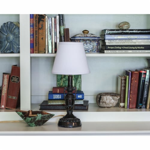 Slant Empire Hardback Lampshade with Bulb Clip, White Perspective: back