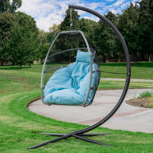 Patio Hanging Egg Chair Swing X-Large Cushion Include Stand, Blue Perspective: back