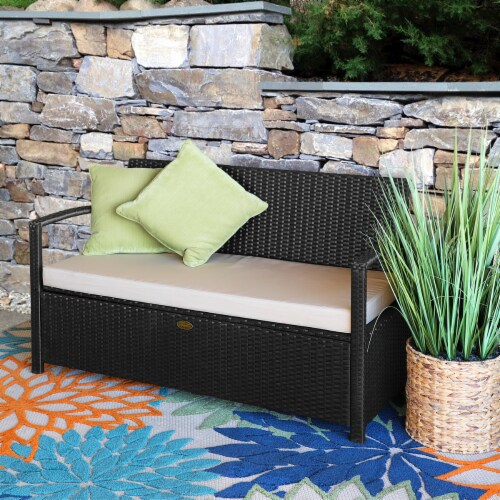 All-Weather Outdoor Storage Bench Pool Deck Box Patio with Cushion Seat Perspective: back