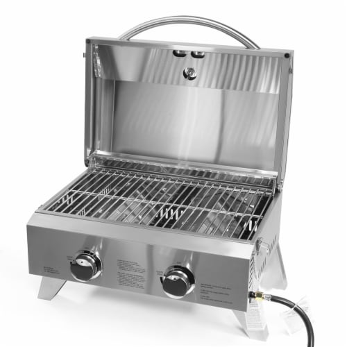 Barton Dual-Burner Tabletop Grill Propane Gas Grill with Foldable Leg 20,000 BTU Perspective: back