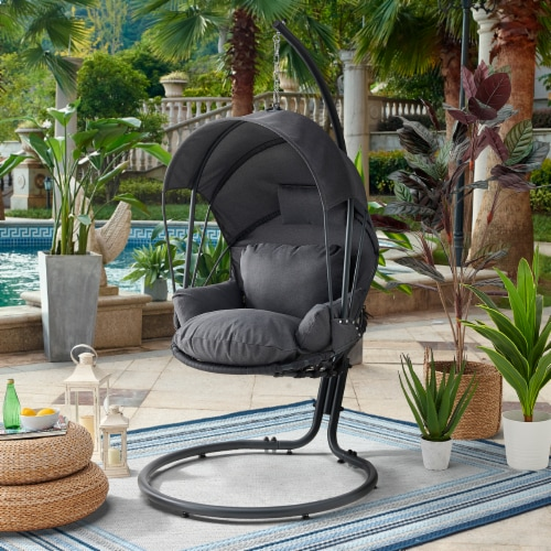 Patio Hanging Swing Lounge Chair Stand Deep Seat Cushion w/ Canopy Grey Perspective: back