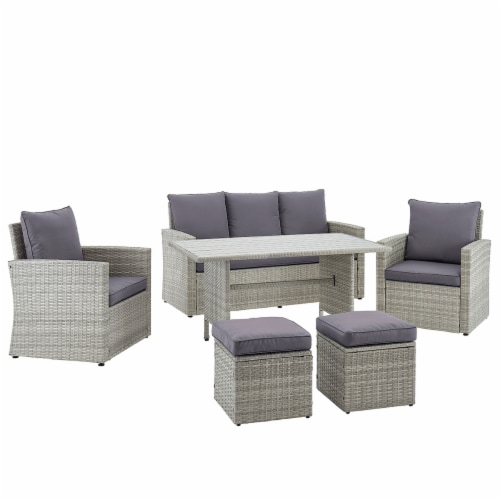 6-Pieces Outdoor Patio Dining Set Wicker Table Cushion Seat, Grey Perspective: back