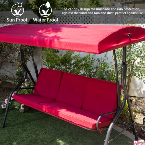 Outdoor 3-Seater Patio Porch Swing Chair with Adjustable Canopy Perspective: back