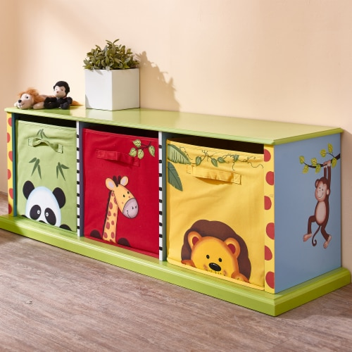 Fantasy Fields Children Sunny Safari Kids Wooden Toy Box Canvas Drawer TD-0131A Perspective: back