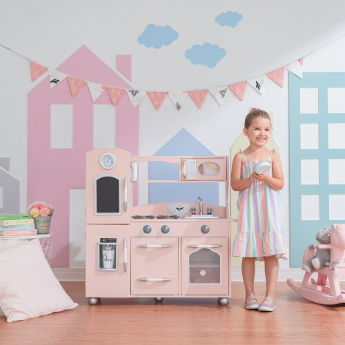 Pink Wooden Toy Kitchen with Fridge Freezer and Oven by Teamson Kids TD-11414P Perspective: back