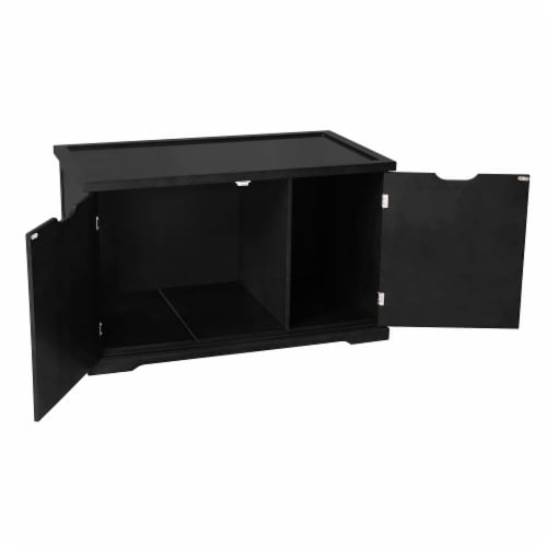 Merry Products Decorative Bench with Enclosed Cat Litter Washroom Box, Black Perspective: back