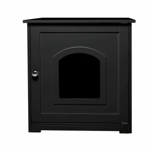zoovilla Kitty Litter Loo Indoor Hidden Litter Box Furniture Enclosure, Black Perspective: back