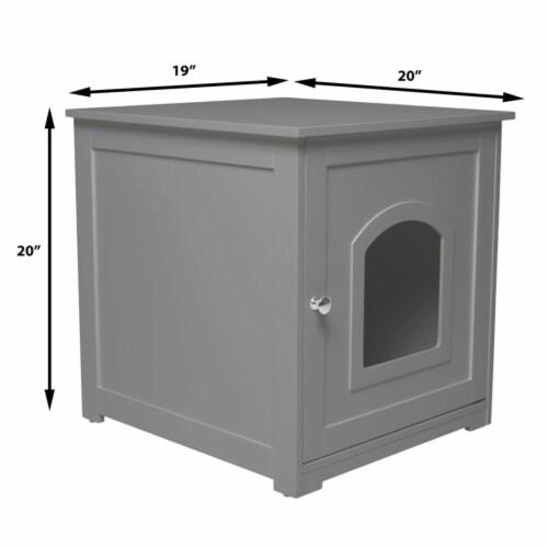 zoovilla Kitty Litter Loo Indoor Hidden Litter Box Enclosure Furniture, Gray Perspective: back