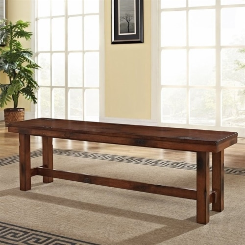 Wood Dining Bench in Dark Oak Perspective: back