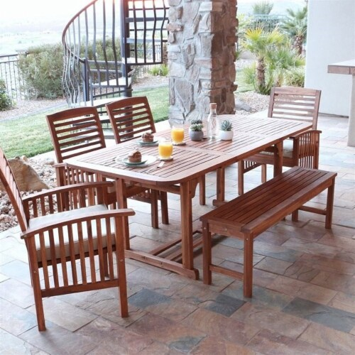 6 Piece Wood Patio Dining Set in Brown with Cushions Perspective: back