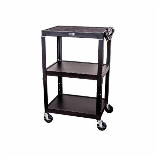 Luxor - Adjustable Height Steel A/V Cart - Three Shelves, Black Perspective: back