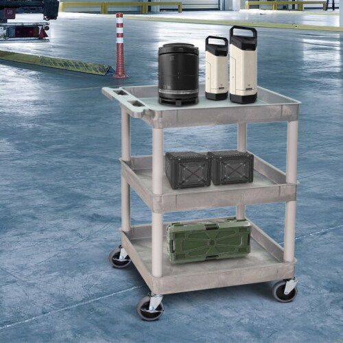 Sim Supply Utility Cart,300 lb. Cap.,PE,3 Shelves HAWA STC111-G Perspective: back