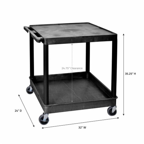 Luxor Large Flat Top and Tub Bottom Shelf Cart Perspective: back