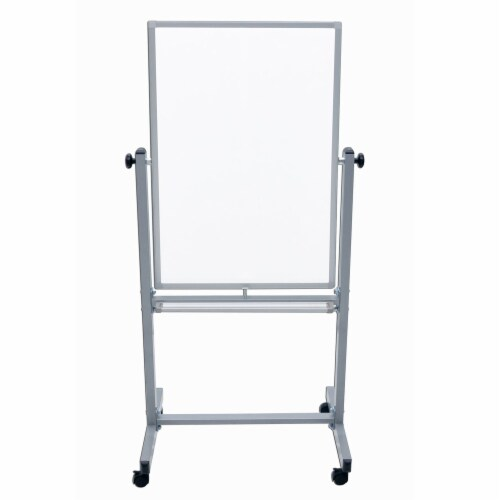 Luxor Dry Erase Double-Sided Magnetic Whiteboard with Aluminum Frame and Stand - 24 W X 36 H Perspective: back