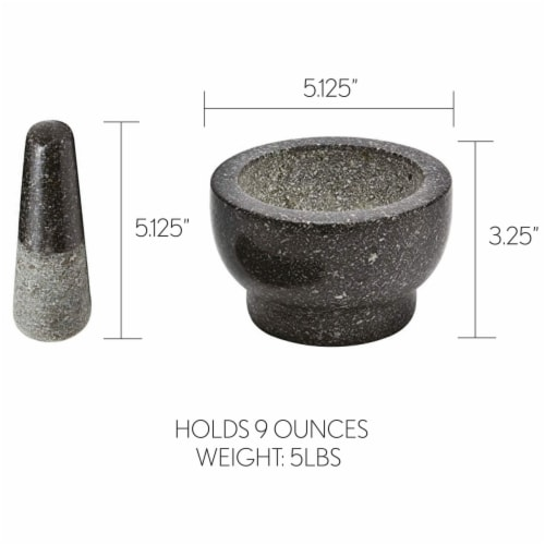 Health Smart Granite Mortar and Pestle Excellent for Grinding Fresh Spices and Herbs Perspective: back