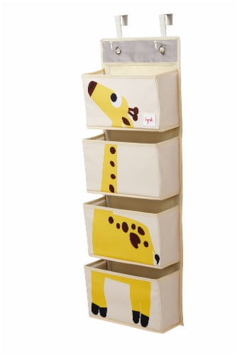 3 Sprouts Hanging Wall Organizer- Storage for Nursery and Changing Tables, Giraffe Perspective: back