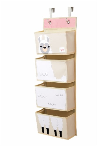 3 Sprouts Hanging Wall Organizer- Storage for Nursery and Changing Tables, Llama Perspective: back