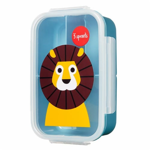 3 Sprouts Microwavable Leakproof 3 Compartment Bento Box Lunch Container, Lion Perspective: back