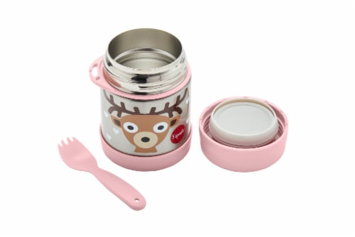 3 Sprouts Stainless Steel Food Jar and Spork for Kids - Deer Perspective: back