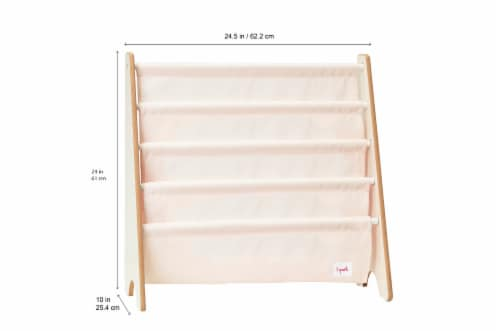 3 Sprouts Book Rack – Kids Storage Shelf Organizer Baby Room Bookcase Furniture, Llama Perspective: back