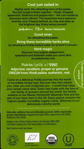 Pukka Organic Three Mint Herbal Tea Sachets Perspective: back