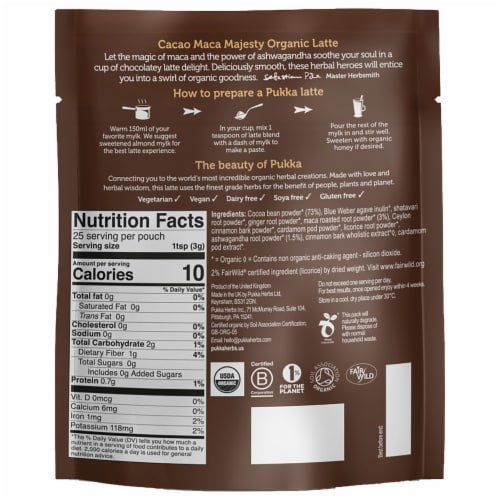 Pukka Organic Cacao Maca Majesty Latte Herbal Drink Perspective: back