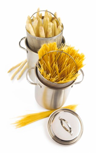 Demeyere Resto 4.8-qt Stainless Steel Asparagus/Pasta Cooker Set Perspective: back