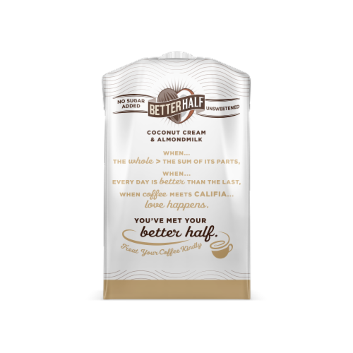 Califia Farms Dairy Free Better Half Unsweetened Coconut Cream & Almond Milk Creamer Perspective: back