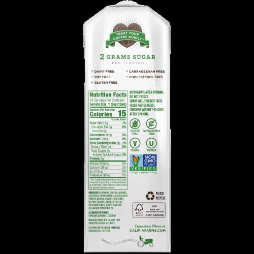 Califia Farms Peppermint Mocha Almondmilk Creamer Perspective: back